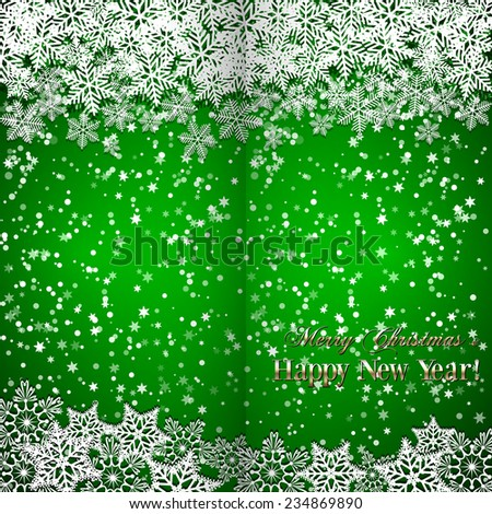 Vector Christmas and New Year green folded  greeting or invitation  with snowflakes - stock vector
