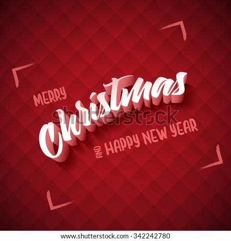 Vector Christmas and new year greeting card design. Elements are layered separately in vector file. - stock vector