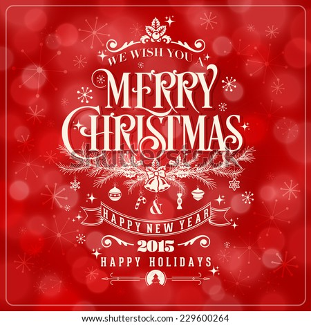 Vector Christmas And New Year Greeting Card On Red Background - stock vector