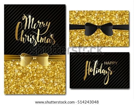 Vector christmas new year invitation cards stock vector 514243048 vector christmas and new year invitation cards with shiny glitter and decorative bows gold glitter stopboris