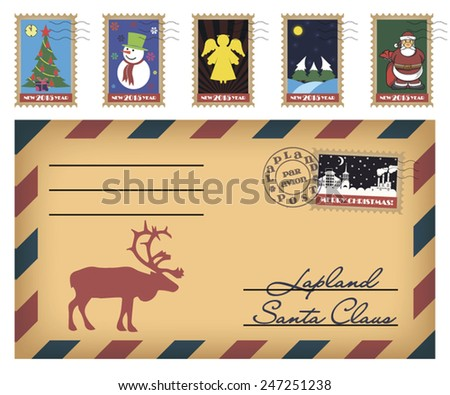 Vector Christmas and New Year stamps and envelope - stock vector