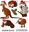 vector christmas animals - stock vector