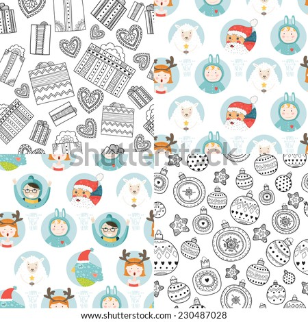 Vector christmas background collection with cartoon santa,  sheep, bird, balls, gifts and childrens. Cute new year patterns holidays - stock vector