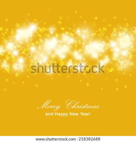 Vector Christmas background. Golden holiday abstract glitter defocused background with blinking stars. - stock vector