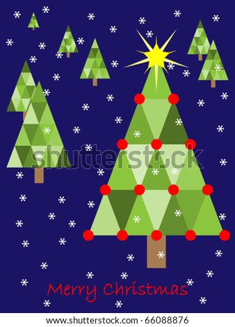 Vector Christmas Background Illustration With Country Trees