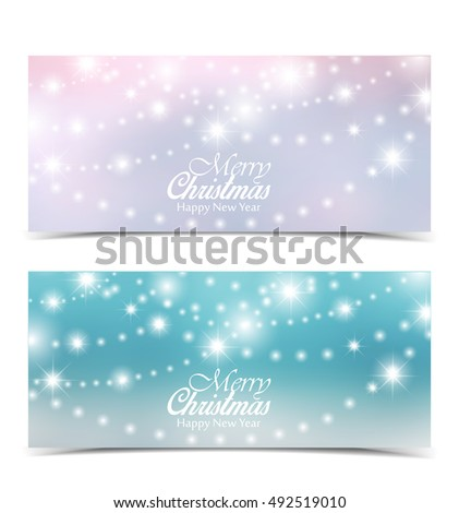 Vector Christmas background, Merry Christmas banners with snow