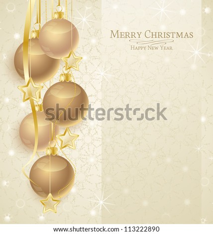 Vector Christmas Background with balls and snowflakes - stock vector