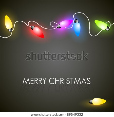 Vector Christmas background with colorful christmas chain lights on green