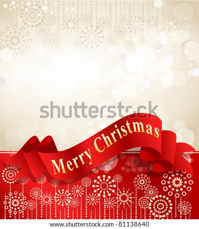 vector christmas background with complimentary red ribbon - stock vector