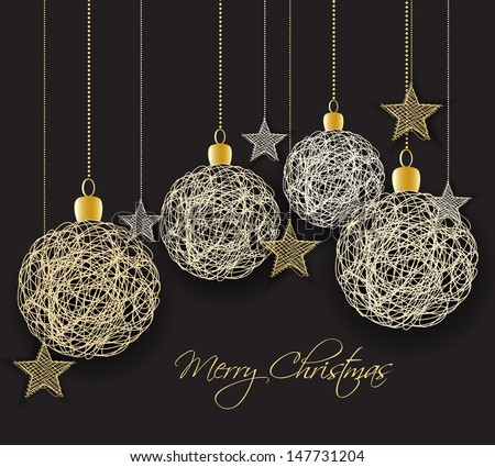 Vector christmas background with decorated christmas balls - stock vector