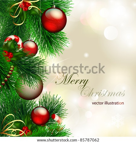 Vector christmas background with decorated christmas tree on shiny background - stock vector