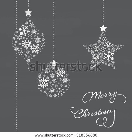 Vector Christmas background with decorations, snowflakes and text - stock vector