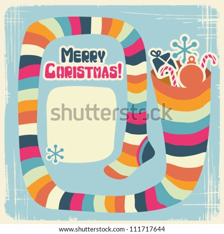 Vector Christmas background with funny socks for gifts. - stock vector