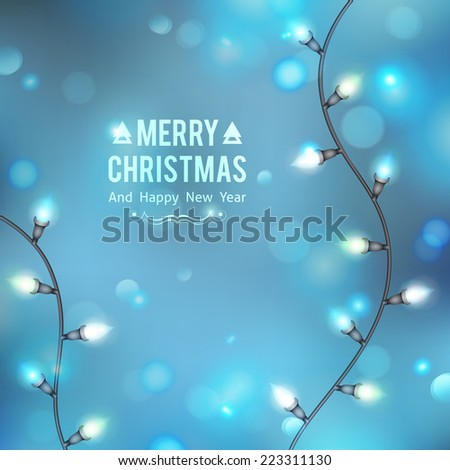 vector christmas background with garland lights and snowfall - stock vector