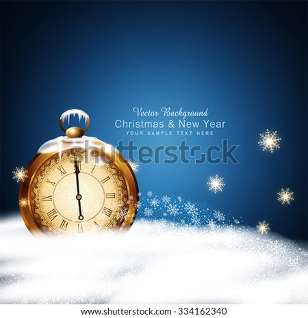 vector Christmas background with old clocks, snow, snowflakes and snow drifts - stock vector