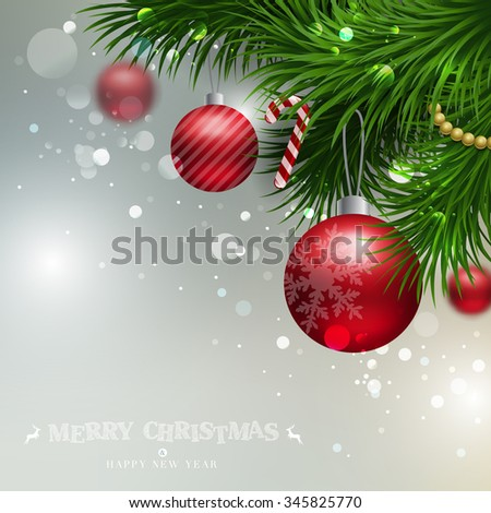 Vector Christmas Background with ornaments glossy balls and Christmas tree - stock vector