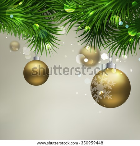 Vector Christmas Background with ornaments glossy balls and Christmas tree