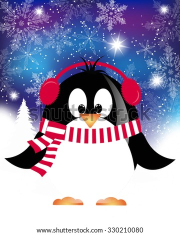 vector Christmas background with penguin. Christmas Card with winter Penguin - vector christmas illustration template with copy space. - stock vector