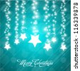Vector Christmas Background with Stylized Falling Stars - stock photo