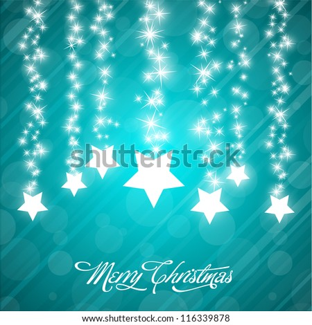 Vector Christmas Background with Stylized Falling Stars - stock vector