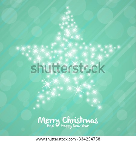 Vector Christmas Background with Stylized Star  - stock vector