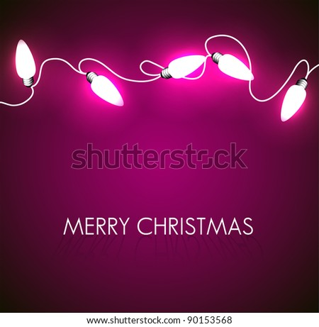 Vector Christmas background with white christmas chain lights on purple - stock vector