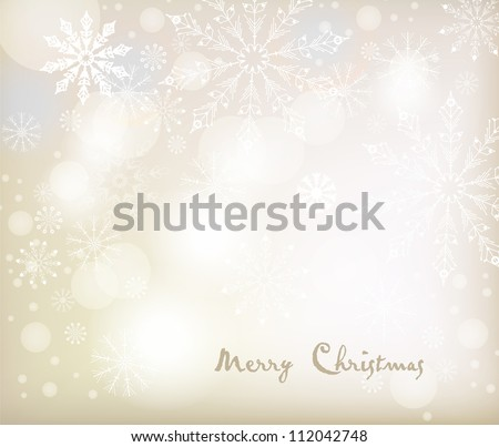 Vector Christmas background with white snowflakes. Vector design - stock vector