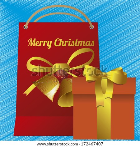 Vector christmas bag and gift with ribbon