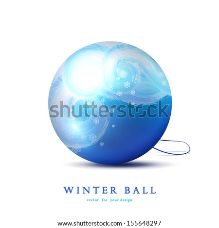 Vector Christmas ball. Beautiful frosty curls and snowflakes.
