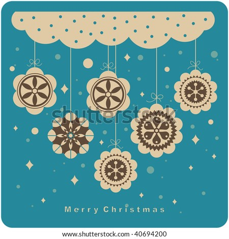 vector Christmas ball(hanging) background - stock vector