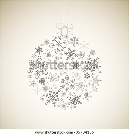 Vector Christmas ball made from gray simple snowflakes on light background - Christmas card - stock vector