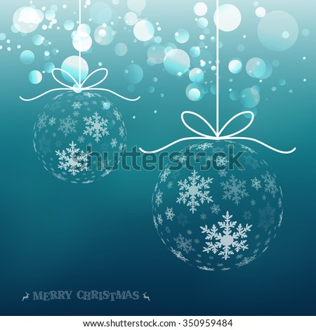 Vector Christmas ball snowflakes background - stock vector