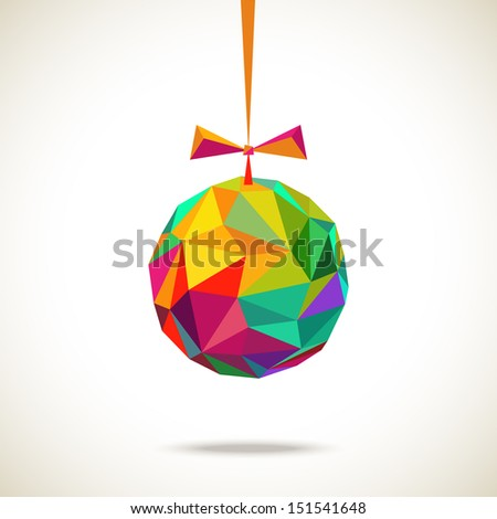 Vector christmas ball with bow made from color triangles. Original modern design element. Greeting, invitation card with sparkling decoration. Festive simple decorative Illustration for print, web - stock vector