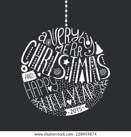 Vector christmas ball with new year lettering. Illustration on black background 2015 - stock vector