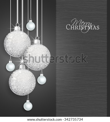 Vector Christmas balls on a black background - stock vector