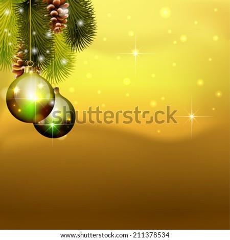 vector christmas balls on pine tree  - stock vector