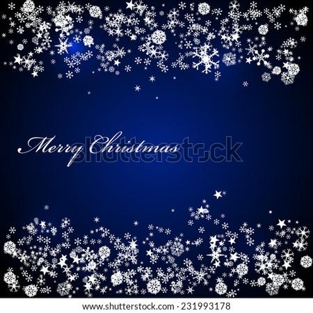 Vector Christmas blue background - stock vector