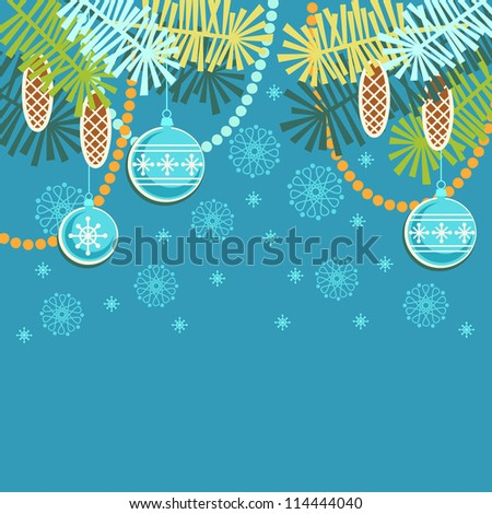Vector christmas blue background. Invitation and greeting card with stylized branches of christmas tree, cones, chaplets and christmas ball. Abstract simple winter holiday illustration with text box - stock vector