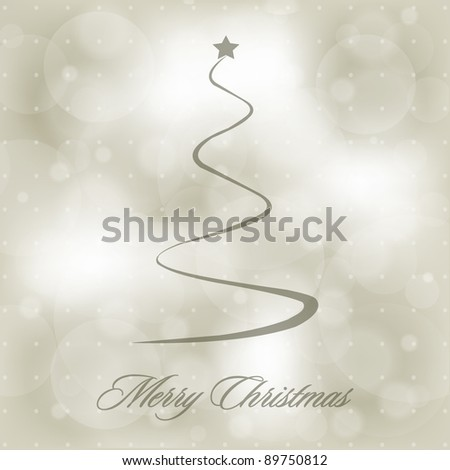 Vector Christmas Blurry Background with Stylized Christmas Tree - stock vector