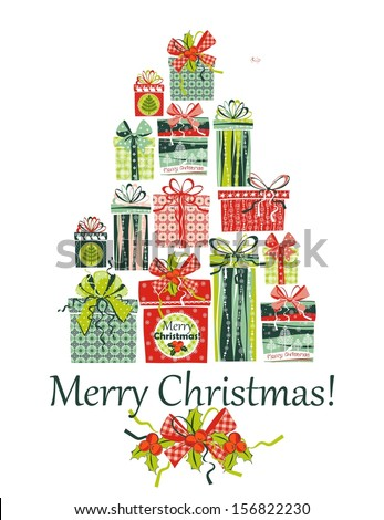 vector Christmas boxes - stock vector