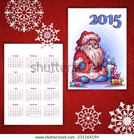 Vector Christmas calendar with Santa and 2015 label. - stock vector