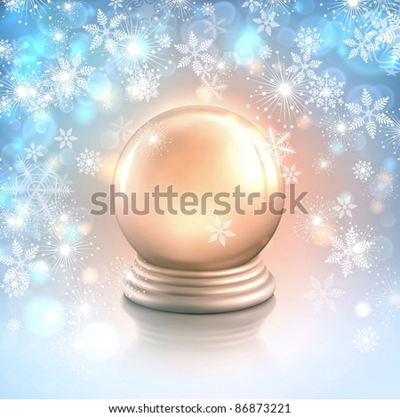 Vector Christmas card background with snowflakes, lights and shiny magic crystal ball or empty silver snow globe - stock vector