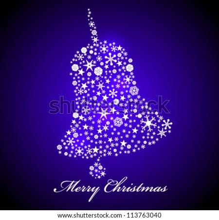 Vector Christmas card. Blue bell - stock vector