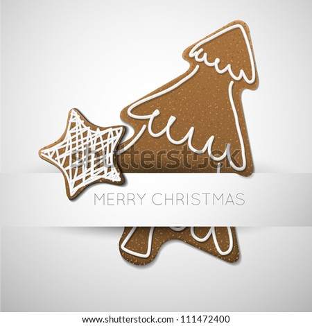 Vector Christmas card - gingerbread tree with white icing  and place for your text - stock vector