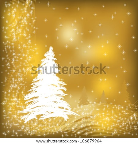 Vector christmas card illustration in gold and white - stock vector