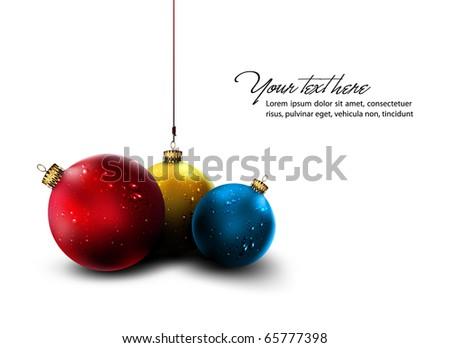 Vector Christmas Card | Isolated Christmas Balls - stock vector