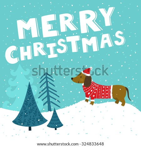 "Vector Christmas card with cute dachshund in Santa's hat and knitted sweater. Holiday background with hand drawing cartoon character, winter landscape, Christmas trees and text ""Merry Christmas"".  - stock vector"