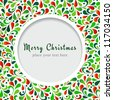 Vector Christmas card with floral ornament design. - stock vector