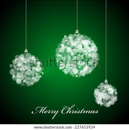 Vector Christmas card with lights on green background - stock vector