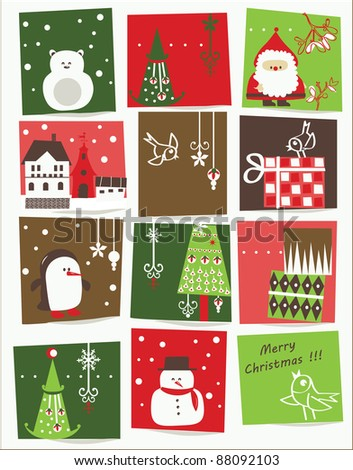vector - Christmas card with nice cartoons - stock vector
